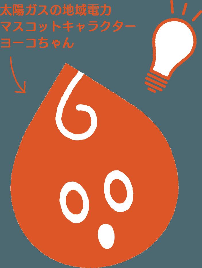 太陽ガスの地域電力 マスコットキャラクター ヨーコちゃん